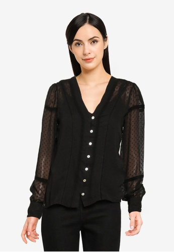 ONLY black Orchid Button Top F0242AAB7B9B7EGS_1