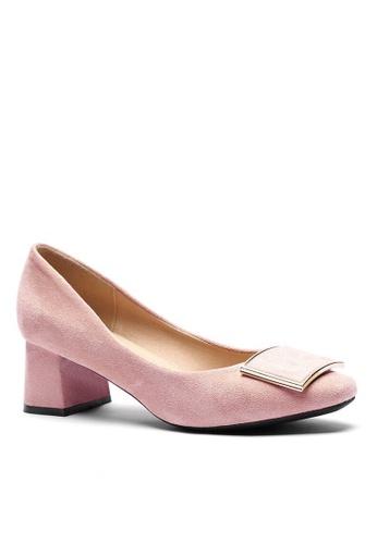 Twenty Eight Shoes 5CM 方頭方扣絨面高踭鞋1270-53 EC1DBSH474B5D8GS_1