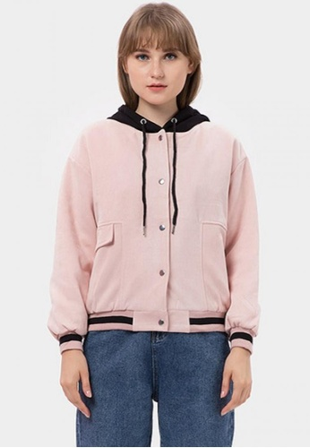 MKY Clothing pink MKY Black Line Rib and Hoody Bomber Jacket in Pink 51420AAEF5A9EFGS_1