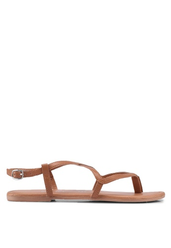 Dorothy Perkins brown Tan Leather Fabia Sandals 8CD36SH995F30DGS_1