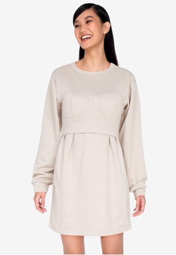 ZALORA BASICS beige Corset Detail Sweater Dress 66967AA76A8DB8GS_1
