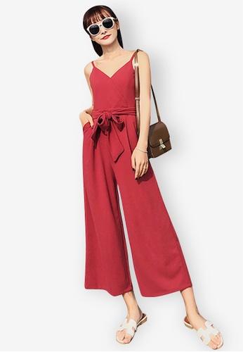 Sunnydaysweety red V-Neck Slip Jumpsuit A055EAA62AEDA6GS_1