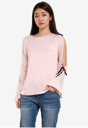 Dorothy Perkins pink Blush Cold Shoudler Tie Top DO816AA0RSNRMY_1