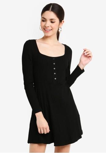 Glamorous black Long Sleeve Rib Dress 45178AA9270606GS_1