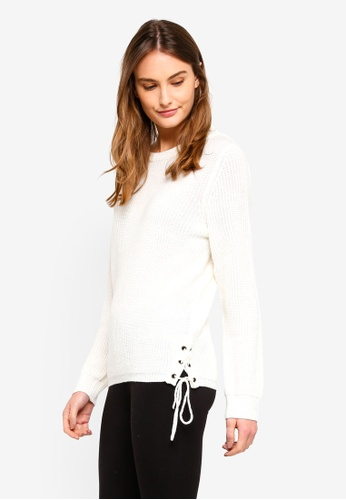 OVS white Knitted Pullover With Ties D20DAAAD830A39GS_1