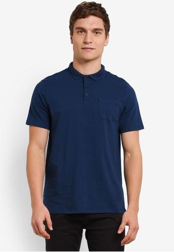 Burton Menswear London blue Petrol Stretch Polo Shirt BU964AA0S7F2MY_1