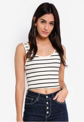 TOPSHOP black Stripe Monochrome Leni Vest DCCBDAAFD71153GS_1