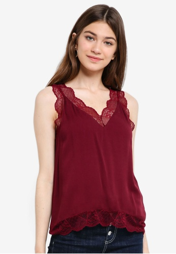 Something Borrowed red Lace Trim Cami Top 028D2AA8053AB3GS_1