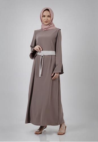 The Executive beige Lebaran Jenahara Contrast Self Fabric Belt Fit & Flare Gamis Modest Wear 7CD11AA9C7BE72GS_1