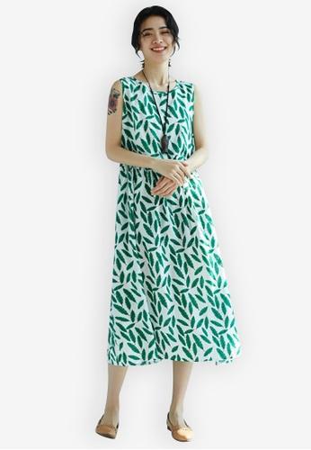 Sunnydaysweety multi Loose Style Leaf Pattern Sleeveless One Piece Dress 9D719AAAEA8A94GS_1
