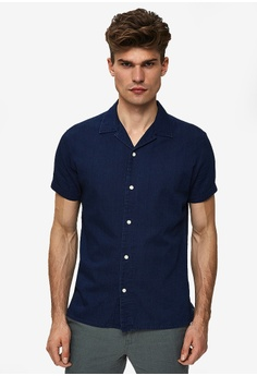 25497c41 Selected Homme blue Nolan Solid Short Sleeve Shirt 98EC5AA7711F89GS_1
