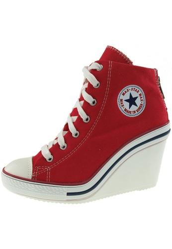 Maxstar 紅色 新款韩国鞋775-BZ時尚帆布布混合女紅色 US Women Size MA345SH91HBGTW_1