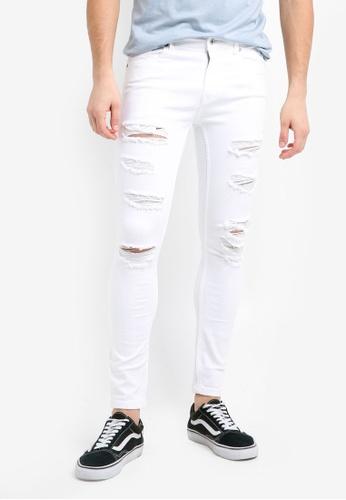 Topman white White Extreme Rip Spray On Jeans C1D82AA3D243ACGS_1