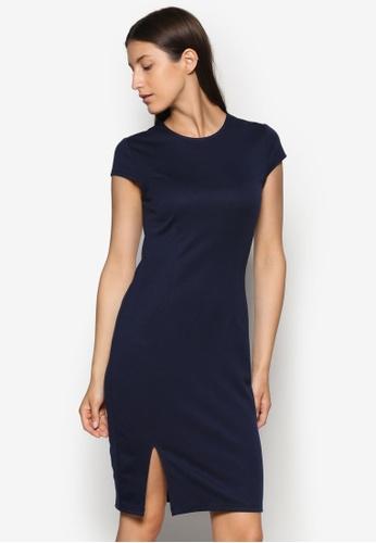 ZALORA blue and navy Basics Front Slit Bodycon Dress AQLTXAA0000030GS_1