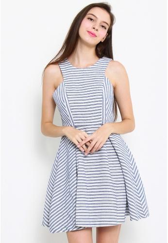 Leline Style blue Caili Stripes Dress LE802AA03PPOSG_1