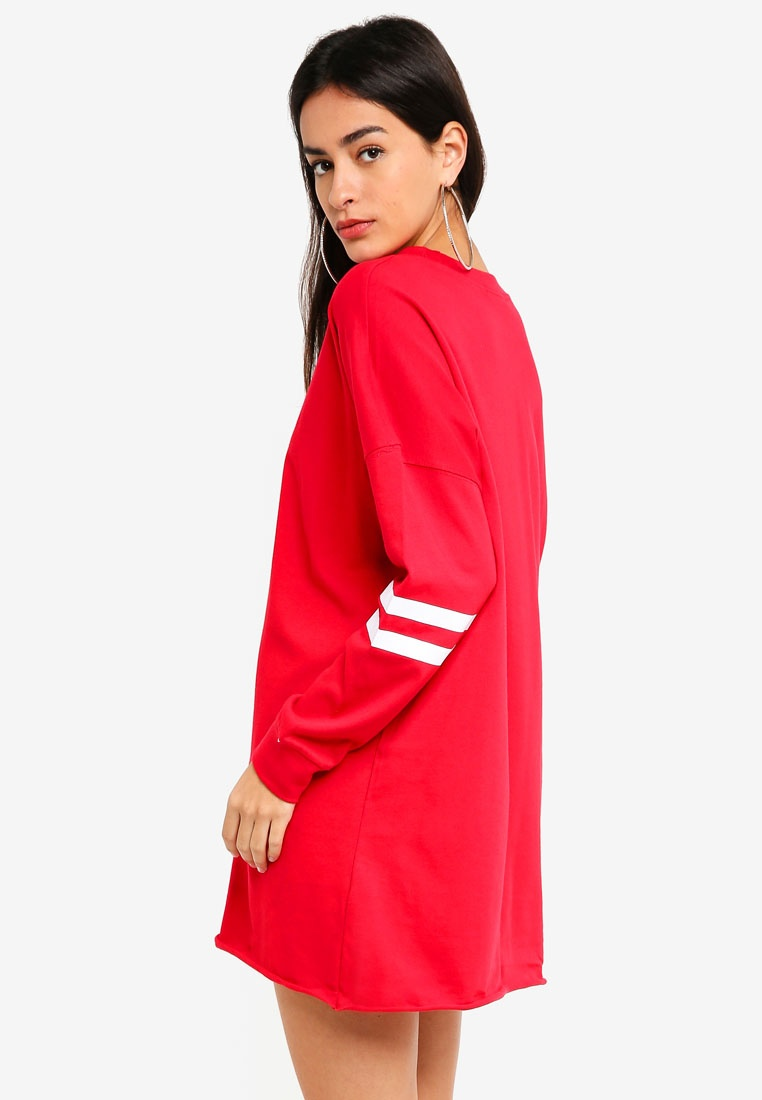 Shirt Red Shoulder Stripe T Drop MISSGUIDED Dress tPAZppqw