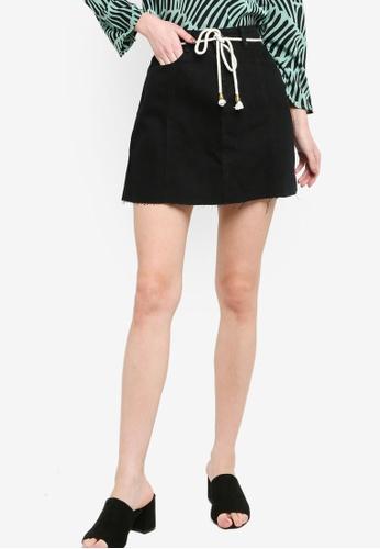 ZALORA black Denim Mini Skirt With Rope Belt 6FD41AAC8BEFF0GS_1