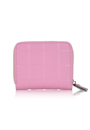 Dazz pink Calf Leather Mini Cube Wallet - Light Pink DA408AC0S9JZMY_1
