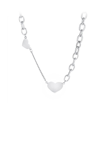 Glamorousky silver Simple and Romantic Heart-shaped 316L Stainless Steel Necklace 7A64CACDA377F2GS_1