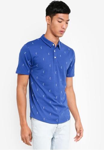 Only & Sons 藍色 短袖印花POLO衫 91B57AAD2C3ED6GS_1