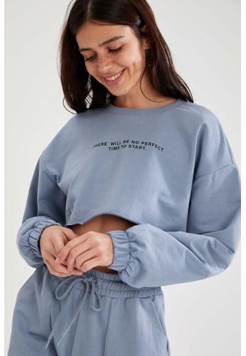DeFacto blue Woman Athleisure Knitted Sweat Shirt 8D43BAA4E240E7GS_1