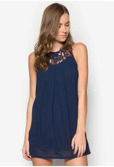 Lace Yoke Pleated Swing Dress