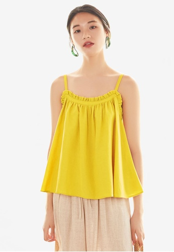 NAIN yellow Ruffle Cami Swing Top 102FCAA9F45C8AGS_1