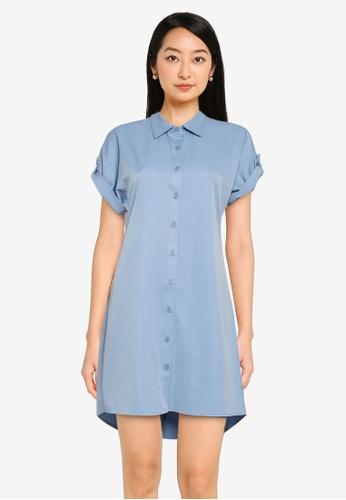 ZALORA BASICS blue Short Sleeve Shirt Dress 96B87AA3082704GS_1