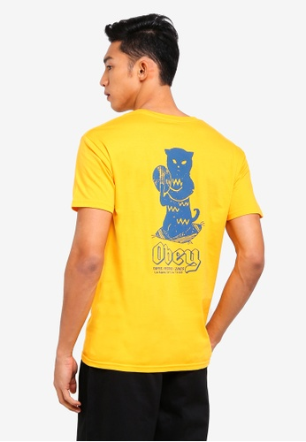 OBEY yellow Cuts & Scratches Tee A567EAA63697EEGS_1