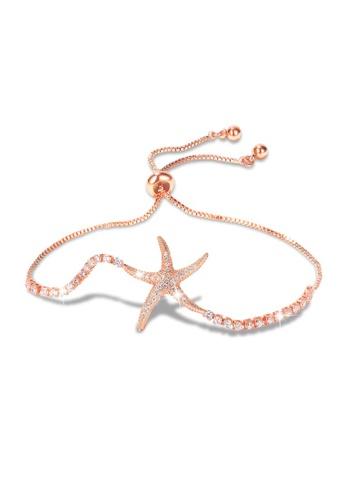 Bullion Gold gold BULLION GOLD Starfish Slider Bracelet with Created Diamond in Rose Gold Layered Steel Jewellery 3EA9BAC5391D69GS_1