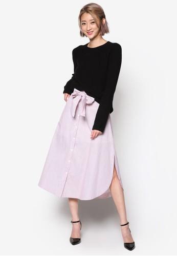 細條紋及zalora 包包 ptt膝A 字短裙, 服飾, 裙子