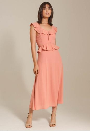 Dressing Paula pink Ruffled Chiffon Maxi Dress 1F8DCAA950B33CGS_1