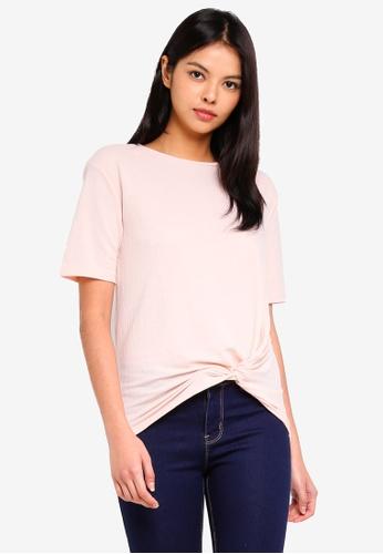 ESPRIT 粉紅色 短袖扭結上衣 D220AAAF12BE02GS_1