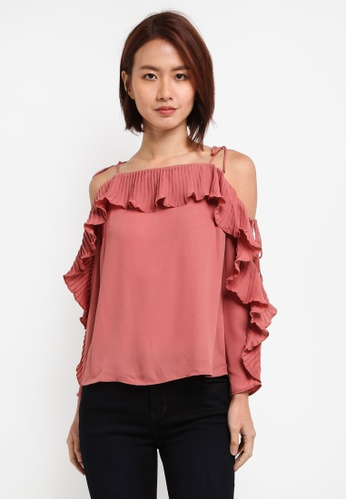 Lipsy pink Pleated Cold Shoulder Top 05B01AAF61052EGS_1