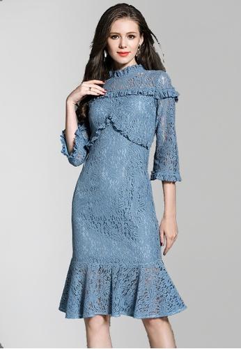 NBRAND blue Lotus Leaf Fringed Lace Fishtail Dress NB356AA0GJF0SG_1