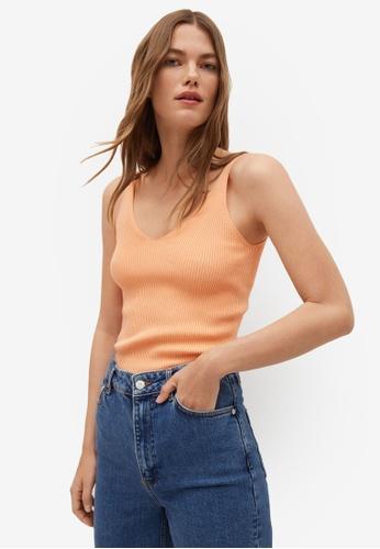 Mango orange Ribbed Knit Top 253A8AA27D6847GS_1