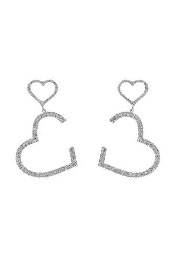 Mellow silver Double Hearts Diamond Earrings AEEEDAC82E2187GS_1