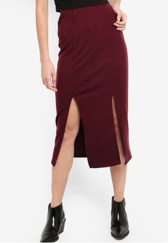 Something Borrowed red Midi Skirt With Slits 961F7AA4E8932EGS_1