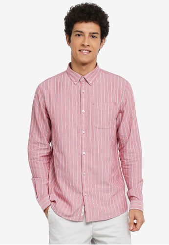 River Island red and multi Stripe Oxford Shirt A536FAADE89389GS_1