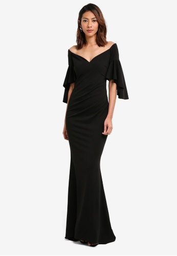 Goddiva black Off The Shoulder Maxi Dress With Short Frilled Sleeves C29B9AA4B5A5FBGS_1