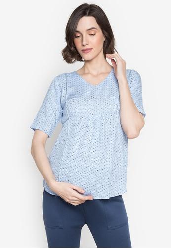 BUNTIS blue Armie Maternity Quarter Sleeves Blouse 4EF0EAACFE1964GS_1