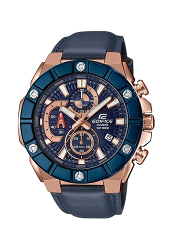 CASIO blue Casio Edifice EFR-569BL-2AVUDF Rose Gold and Blue Leather Watch 7A9C6AC82F069CGS_1