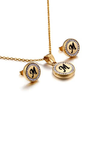 Glamorousky white Fashion and Simple Plated Gold English Alphabet M Geometric Round Cubic Zirconia with 316L Stainless Steel Necklace and Stud Earrings Set 79127AC96E6B5DGS_1