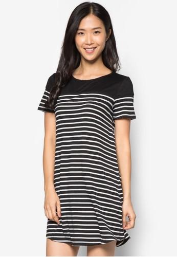 zalora鞋條紋短袖連身裙, 服飾, 夏日洋裝