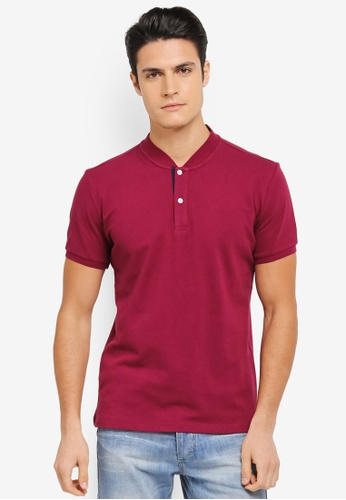 ZALORA red Mandarin Collar Contrast Colour Polo 3EA78AA8429E01GS_1