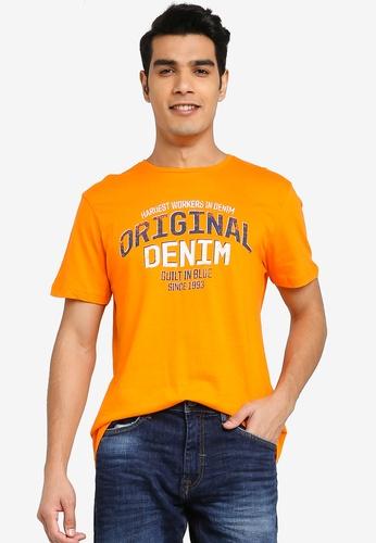 BLEND orange Vintage Text Print Crew Neck T-Shirt 7D9FDAA4F9C1D5GS_1