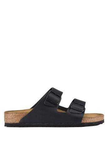 Birkenstock 黑色 Arizona Smooth Leather Sandals BI090SH93JPMMY_1
