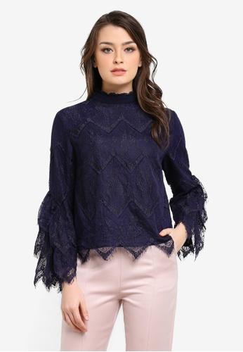 Zalia navy Tiered Lace Crop Top A2B8CAA4B79E72GS_1