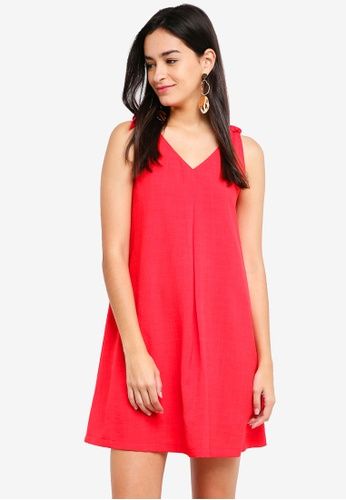 ZALORA purple Tie Detail A-Line Strap Dress 2FA34AAEEAE1CCGS_1