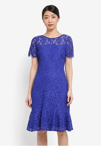 Wallis blue Blue Peplum Hem Lace Dress 37F36AAD9E4A8BGS_1
